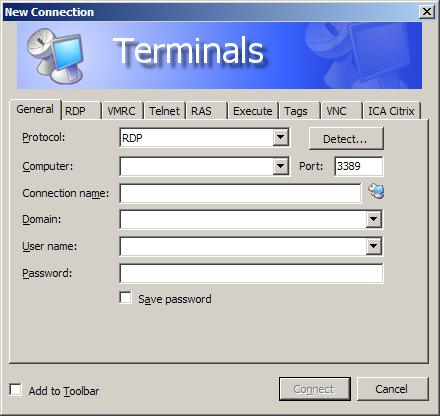 Figure 1.1 Terminals New Connection Screen
